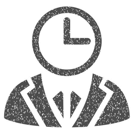Time Duty Person grainy textured icon for overlay watermark stamps. Flat symbol with dirty texture. Dotted glyph gray ink rubber seal stamp with grunge design on a white background.
