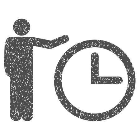 Time Show grainy textured icon for overlay watermark stamps. Flat symbol with dirty texture. Dotted glyph gray ink rubber seal stamp with grunge design on a white background.