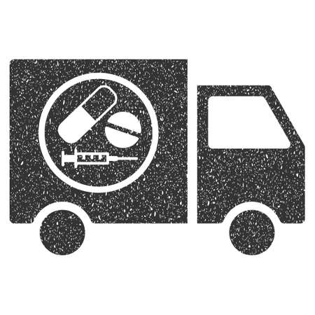 transport truck: Drugstore Truck rubber seal stamp watermark. Icon symbol with grunge design and dirty texture. Scratched vector gray ink emblem on a white background.