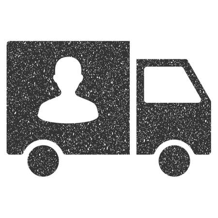 Passenger Transport Van rubber seal stamp watermark. Icon symbol with grunge design and dust texture. Scratched vector gray ink emblem on a white background.