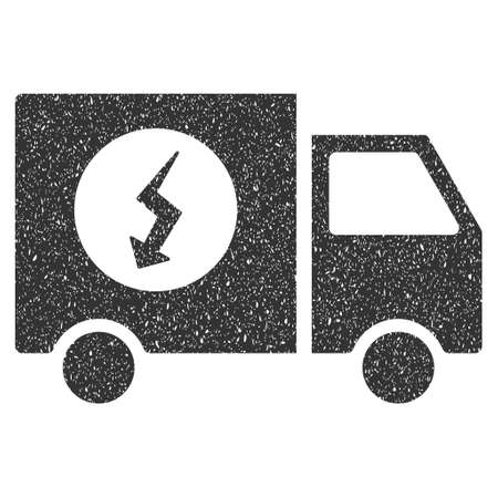 Power Supply Van rubber seal stamp watermark. Icon symbol with grunge design and dust texture. Scratched vector gray ink emblem on a white background.