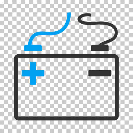 lithium: Accumulator rounded icon. Vector pictogram style is a flat bicolor symbol, blue and gray colors, chess transparent background. Illustration