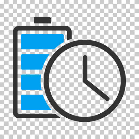 timed: Battery Time square icon. Vector pictogram style is a flat bicolor symbol, blue and gray colors, chess transparent background. Illustration