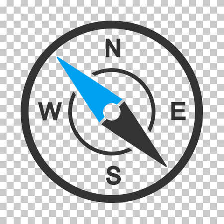 Compass square icon. Vector pictogram style is a flat bicolor symbol, blue and gray colors, chess transparent background. Illustration