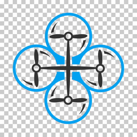 airflight: Drone Screws interface toolbar icon. Vector pictograph style is a flat bicolor symbol, blue and gray colors, chess transparent background.