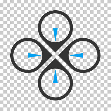 avion: Fly Drone interface toolbar icon. Vector pictograph style is a flat bicolor symbol, blue and gray colors, chess transparent background. Illustration