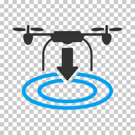 Drone Landing toolbar icon. Vector pictograph style is a flat bicolor symbol, blue and gray colors, chess transparent background.
