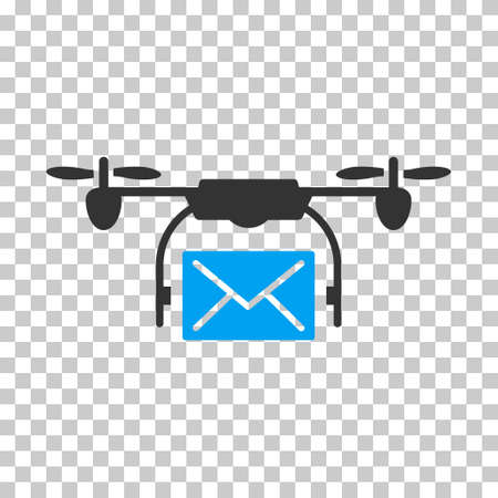 mail delivery: Mail Delivery Drone square icon. Vector pictograph style is a flat bicolor symbol, blue and gray colors, chess transparent background.