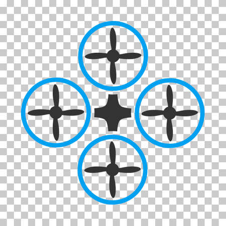airflight: Quadcopter rounded icon. Vector pictogram style is a flat bicolor symbol, blue and gray colors, chess transparent background. Illustration