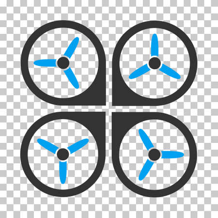 avion: Quadrotor toolbar icon. Vector pictogram style is a flat bicolor symbol, blue and gray colors, chess transparent background.