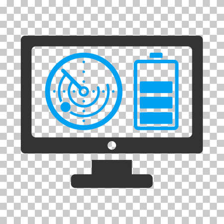 Radar Battery Control Monitor interface toolbar icon. Vector pictograph style is a flat bicolor symbol, blue and gray colors, chess transparent background.