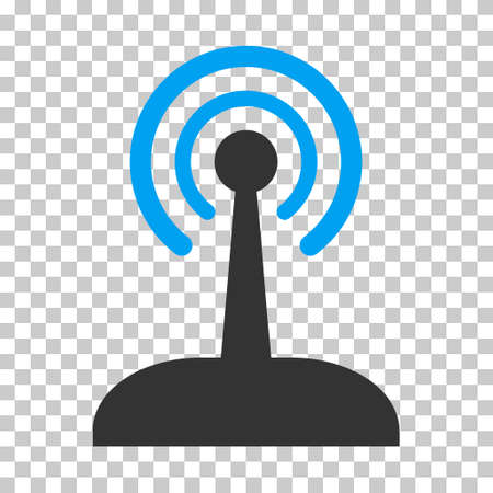 Radio Control Joystick toolbar icon. Vector pictogram style is a flat bicolor symbol, blue and gray colors, chess transparent background.