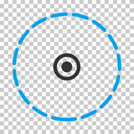 Round Area rounded icon. Vector pictograph style is a flat bicolor symbol, blue and gray colors, chess transparent background.
