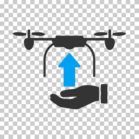avion: Send Drone Hand interface icon. Vector pictogram style is a flat bicolor symbol, blue and gray colors, chess transparent background.