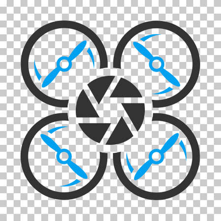 Shutter Drone rounded icon. Vector pictogram style is a flat bicolor symbol, blue and gray colors, chess transparent background. Illusztráció