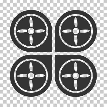 avion: Quadrocopter interface toolbar icon. Vector pictogram style is a flat symbol, gray color, chess transparent background.