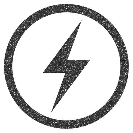 Electricity Symbol rubber seal stamp watermark. Icon symbol inside circle frame with grunge design and unclean texture. Scratched glyph gray ink sticker on a white background.