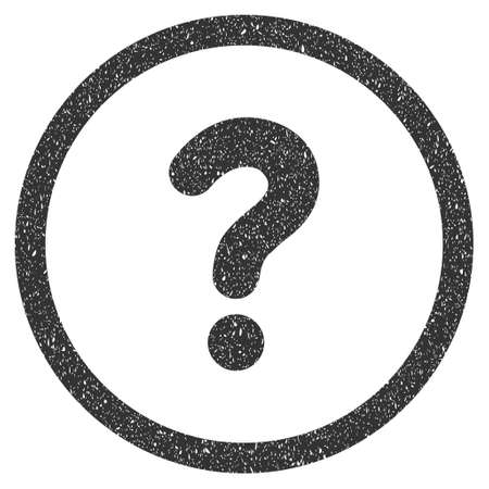Question rubber seal stamp watermark. Icon symbol inside circle frame with grunge design and dust texture. Scratched glyph gray ink sticker on a white background. Stock Photo