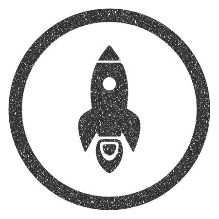 Rocket Start rubber seal stamp watermark. Icon symbol inside circle frame with grunge design and corrosion texture. Scratched glyph gray ink sign on a white background.