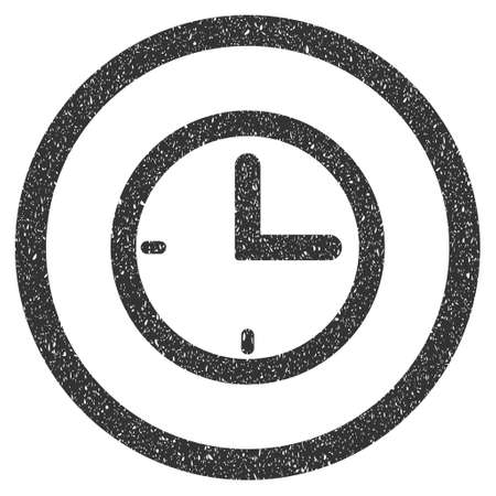 time frame: Time rubber seal stamp watermark. Icon symbol inside circle frame with grunge design and unclean texture. Scratched glyph gray ink emblem on a white background.