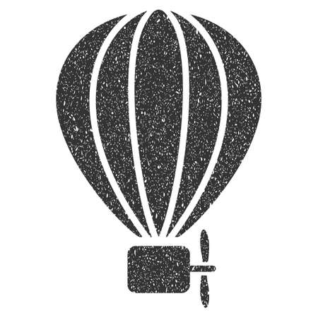 air baloon: Aerostat Balloon rubber seal stamp watermark. Icon symbol with grunge design and unclean texture. Scratched glyph gray ink sticker on a white background. Stock Photo