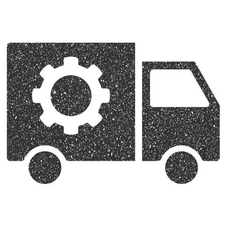 configuration: Gear Tools Delivery Car rubber seal stamp watermark. Icon symbol with grunge design and dust texture. Scratched glyph gray ink sticker on a white background.