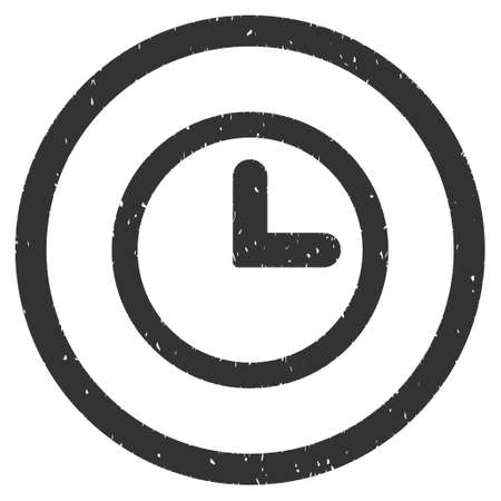 clockface: Clock rubber seal stamp watermark. Icon vector symbol with grunge design and dirty texture. Scratched gray ink sticker on a white background.