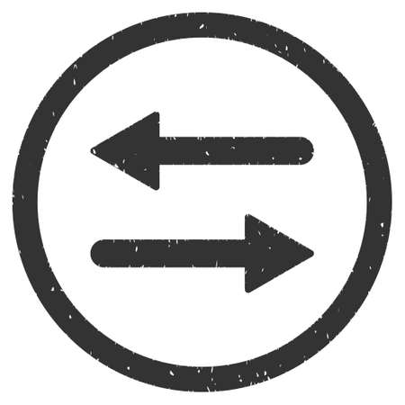 inverse: Horizontal Exchange Arrows rubber seal stamp watermark. Icon vector symbol with grunge design and dust texture. Scratched gray ink sign on a white background.