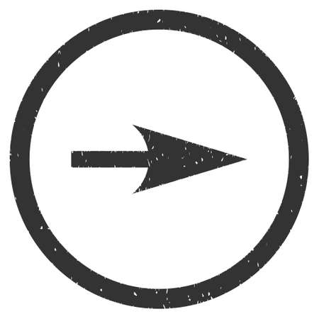 Sharp Right Arrow rubber seal stamp watermark. Icon vector symbol with grunge design and corrosion texture. Scratched gray ink sticker on a white background.