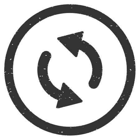 inverse: Update Arrows rubber seal stamp watermark. Icon vector symbol with grunge design and dust texture. Scratched gray ink emblem on a white background.