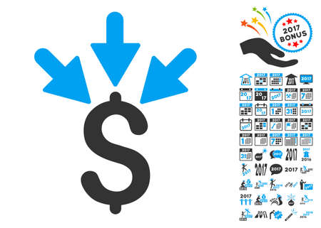 Aggregate Payment pictograph with bonus 2017 new year icon set. Vector illustration style is flat iconic symbols,modern colors.