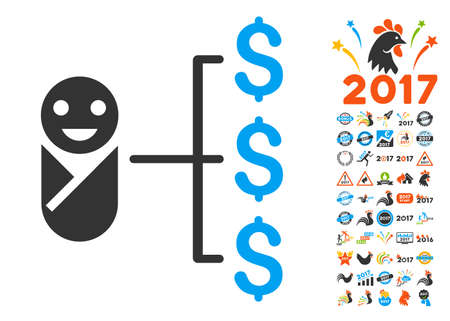 Baby Expenses pictograph with bonus 2017 new year icon set. Vector illustration style is flat iconic symbols,modern colors. Illustration