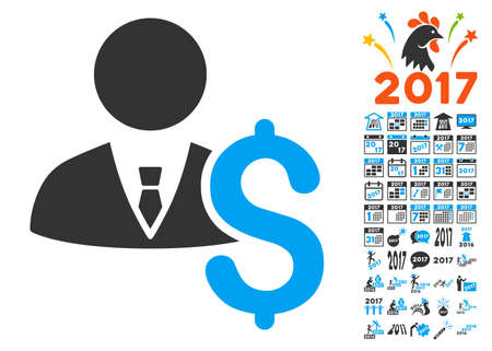 Banker icon with bonus 2017 new year images. Vector illustration style is flat iconic symbols,modern colors. Illustration