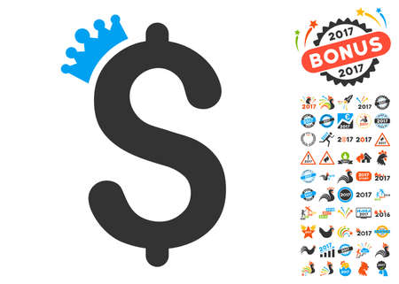 the aristocracy: Business Crown icon with bonus 2017 new year pictograph collection. Vector illustration style is flat iconic symbols,modern colors. Illustration