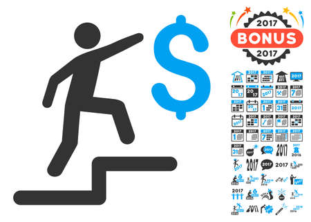 upstairs: Business Steps pictograph with bonus 2017 new year icon set. Vector illustration style is flat iconic symbols,modern colors.
