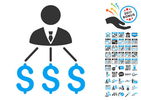 clip art cost: Businessman Expenses pictograph with bonus 2017 new year symbols. Vector illustration style is flat iconic symbols,modern colors.