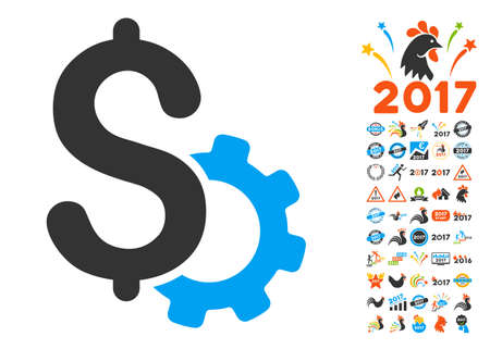 clip art cost: Development Price pictograph with bonus 2017 new year clip art. Vector illustration style is flat iconic symbols,modern colors. Illustration