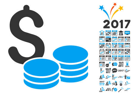 Coins Money icon with bonus 2017 new year pictograph collection. Vector illustration style is flat iconic symbols,modern colors. Illustration