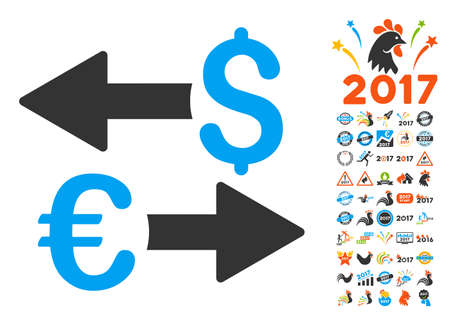 transactions: Euro Dollar Transactions pictograph with bonus 2017 new year design elements. Vector illustration style is flat iconic symbols,modern colors.