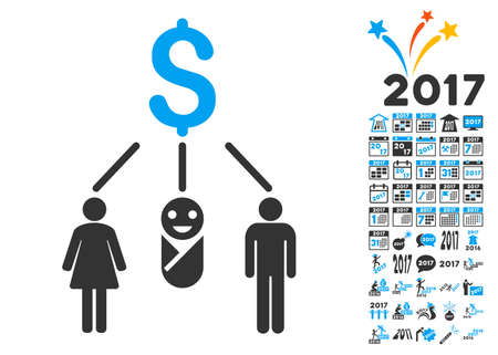 clip art cost: Family Budget pictograph with bonus 2017 new year symbols. Vector illustration style is flat iconic symbols,modern colors.
