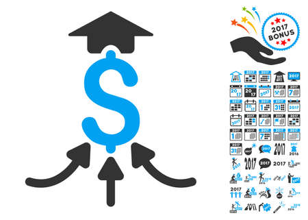 takings: Financial Aggregator pictograph with bonus 2017 new year pictures. Vector illustration style is flat iconic symbols,modern colors.