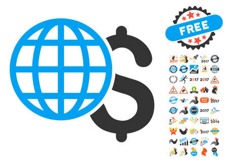 Global Finances icon with bonus 2017 new year pictures. Vector illustration style is flat iconic symbols,modern colors.