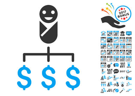 kiddie: Kid Expenses icon with bonus 2017 new year clip art. Vector illustration style is flat iconic symbols,modern colors. Illustration