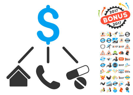clip art cost: Life Expenses pictograph with bonus 2017 new year images. Vector illustration style is flat iconic symbols,modern colors. Illustration