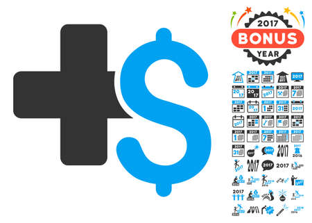 doctor with dollars: Medical Business pictograph with bonus 2017 new year images. Vector illustration style is flat iconic symbols,modern colors.