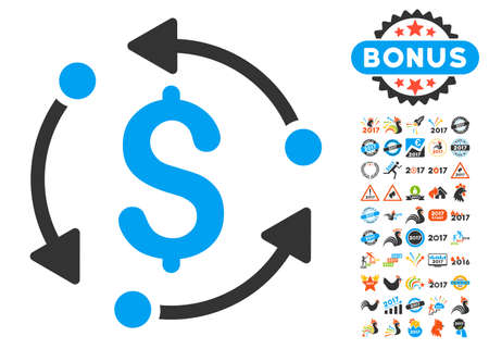 turn of the year: Money Rotation pictograph with bonus 2017 new year clip art. Vector illustration style is flat iconic symbols,modern colors. Illustration