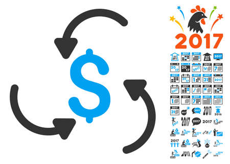 Money Swirl pictograph with bonus 2017 new year clip art. Vector illustration style is flat iconic symbols,modern colors.