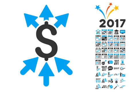 Payment Broker pictograph with bonus 2017 new year graphic icons. Vector illustration style is flat iconic symbols,modern colors.