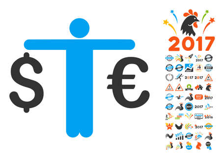Person Compare Euro Dollar icon with bonus 2017 new year pictograms. Vector illustration style is flat iconic symbols,modern colors. Illustration