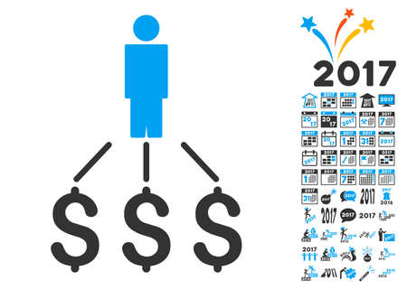payer: Person Expenses pictograph with bonus 2017 new year pictograph collection. Vector illustration style is flat iconic symbols,modern colors.